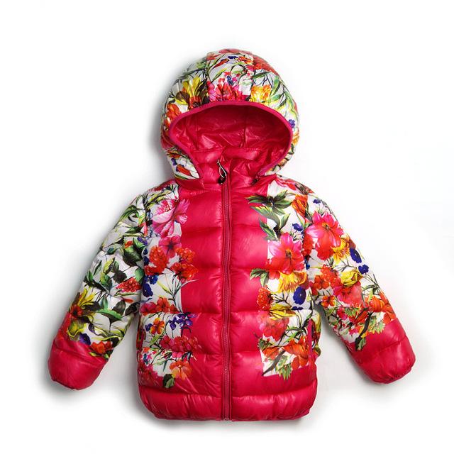 Девочки с капюшоном хемминг хлопка-ватник цветок сплошной цветовое пространство зимний пиджаки размер 90 - 130 см