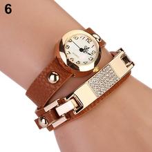 Popular Women's Alloy Bracelet Watch Wrap Square Rhinestone Faux Leather Analog Quartz NO181 5UXW 3Y3FD
