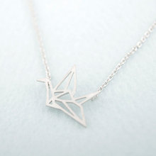 ONE PIECE Hot Sale Gold Silver Origami Crane Necklace Long Necklace Animal bird crane Pendant Jewelry Fashion for women 2015