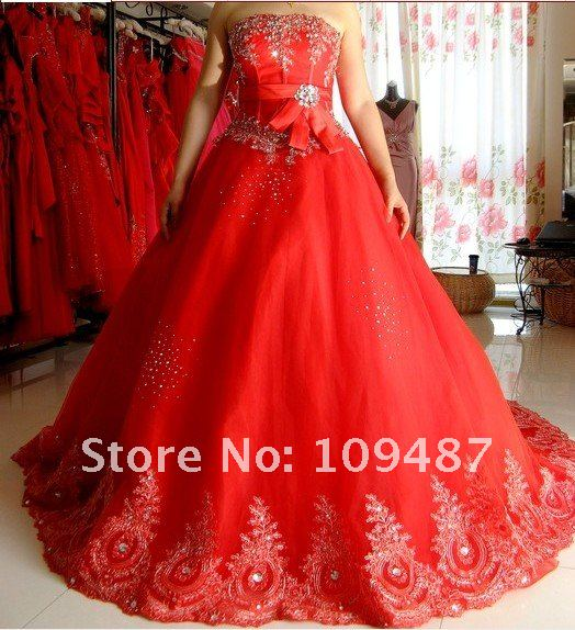 2013 new wedding dress korean bra straps wedding dress for Big red wedding dresses