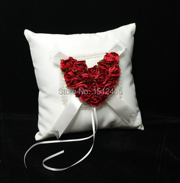 Free shipping,New style Red Rose Love Heart Satin Wedding Ring Pillow Wedding Ceremony Party Stuff Accessories JZ37(China (Mainland))