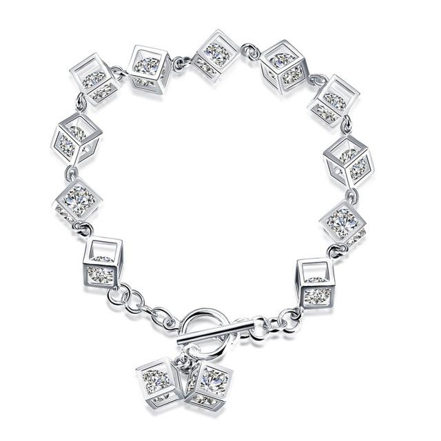 Новинка оригинальный серебряные ювелирные изделия проложить CZ каменные кубы шарм браслеты , совместимой с DIY ювелирных