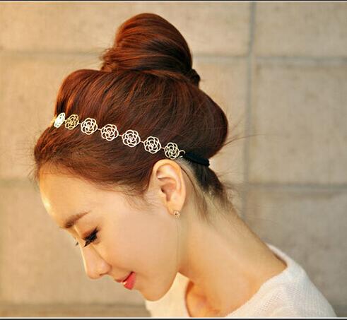 2015 New Arrival Korean Gold Rose Flower Elasticity Hairbands / Hair Wear/ Headband For Women E-shine Jewelry(China (Mainland))