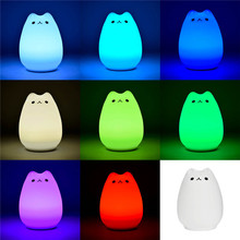Soft Silicone Gradual change Cute Kitty Night Light USB Charging Kids Bedside Vibration Sensor Dimmer Lamp Home Decor(China (Mainland))