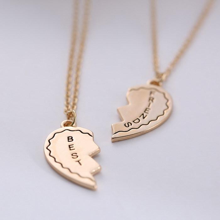 Broken Heart Couples Necklace Set Broken Heart Couple