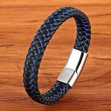 Nuevo brazalete de cuero trenzado Punk azul y negro para hombre, brazaletes de moda con cierre magnético de acero inoxidable para hombre, regalos en 6 colores(China)