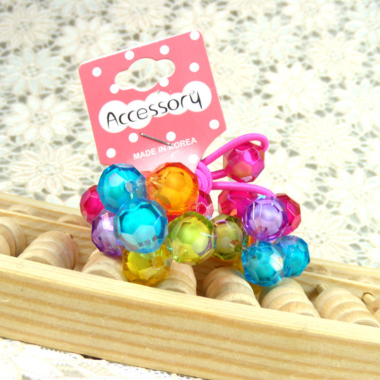 New Korean Girls Elastic Hair Bands Colorful Crystal Ball Flowers Ponytail Holder Rope Kids Children Hair Barrettes Accessories(China (Mainland))