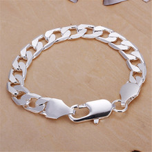 Buy Classic 6MM 8MM 10MM flat MEN bracelet silver Plated bracelets new listings high fashion jewelry Christmas gifts for $1.17 in AliExpress store