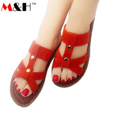 M&H Brand 2016 New Handmade Palm Fiber T-tied Rivets Sandals Shoes Flats Slippers Women Slides Sandals Leisure Candy Colors(China (Mainland))