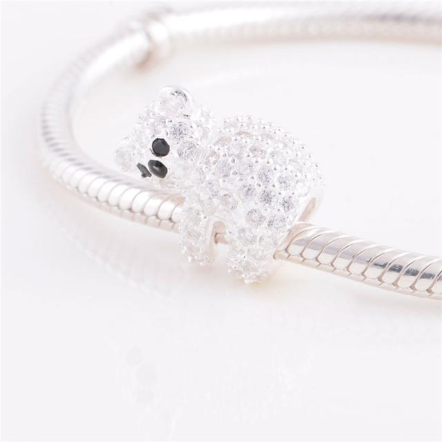 Подходит пандоры прелести браслет стерлингового серебра 925 бусины прекрасный коала животных шарм бусины DIY браслеты для женщин ювелирных изделий