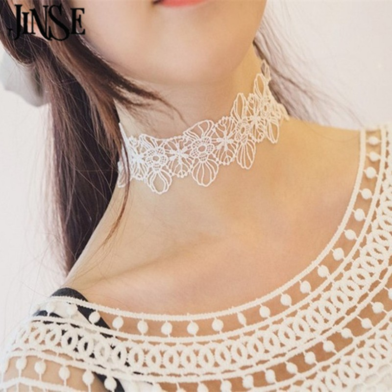 JINSE Newest fashion jewelry accessories white &black flower Lace Tattoo choker necklace for couple lovers CH028