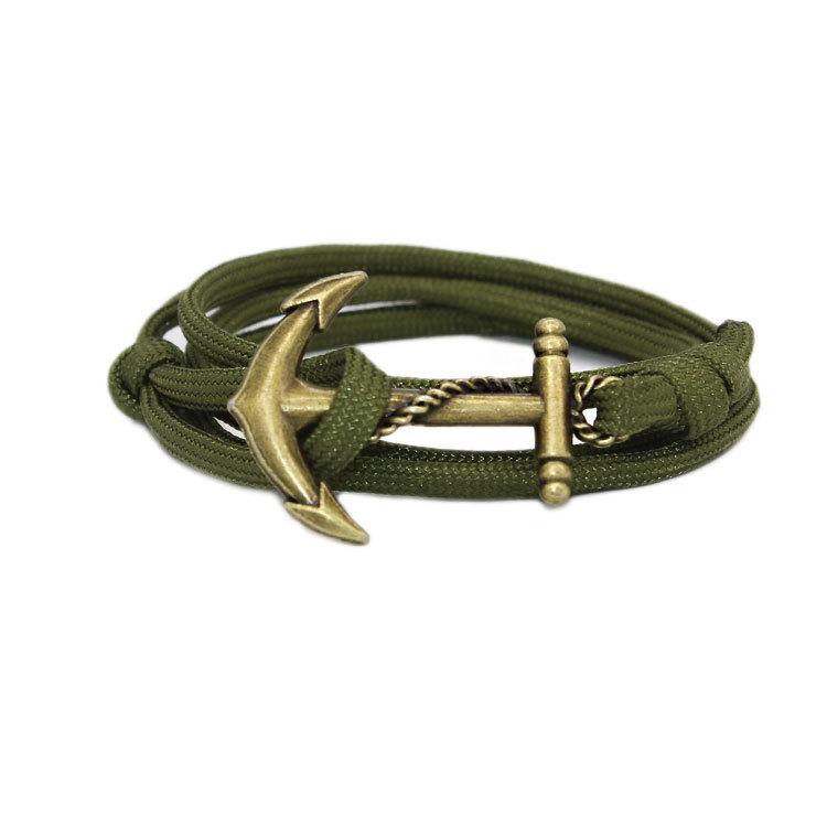 New European and American fashion personality retro navy anchor wind nylon rope hand rope bracelet men Korean lover jewelry(China (Mainland))
