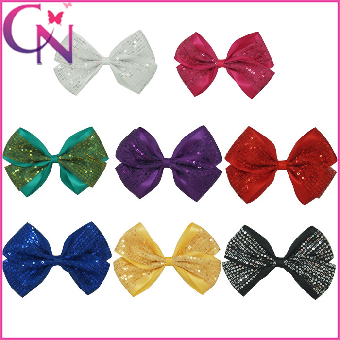 Wholesale-320pcs8color6New Bling Glitter Bow For BabyGirl+Grosgrain Ribbon Boutique Sequins Hair Bows With Clips CNHBW-13090416Одежда и ак�е��уары<br><br><br>Aliexpress