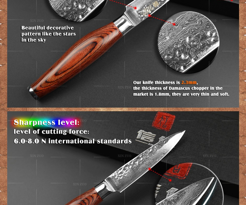 "Buy XINZUO 3.5"" fruit knife Damascus kitchen knives high quanlity paring knife senior damascus steel parer knife FREE SHIPPING cheap"