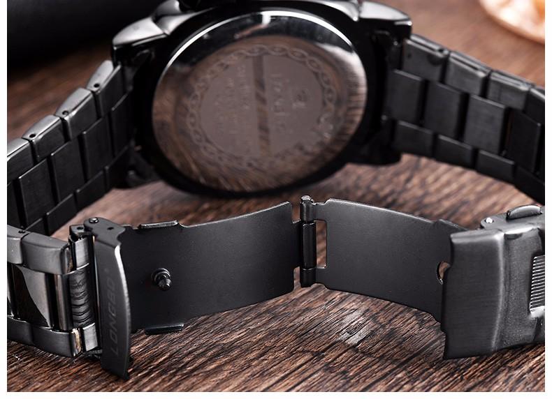 Марка LONGBO Мужчины Часы мужские Кварцевые Час Дата Часы Мужчины Кожа Спортивные Часы Повседневная Военная Наручные Часы Relogio Masculino