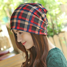 Fashion Plaid Summer Winter Hats for Women Thin/Thick Beanie/Scarf/Headband Skull Mask Multi-Function Gorro Feminino Inverno(China (Mainland))