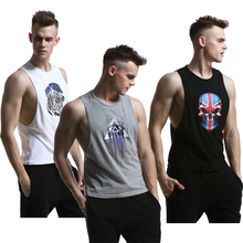 Mens Fashion Printing Tank Tops Shirt Gym Singlets Bodybuilding Fitness Top Sports Clothes Sleeveless S-XL - ZEOINU store