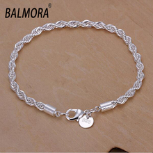 Hot Sale silver plated bracelet 4mm wide 20cm long trendy silver jewelry bracelets for women men best gifts free shipping LKH207