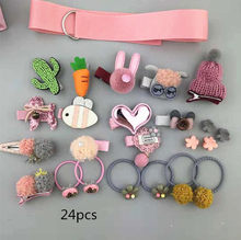 New 24pcs/set Kids toddlers hair accessories cartoon hair clip barrette hair elastic rubber hair bands ties girls headdress(China)