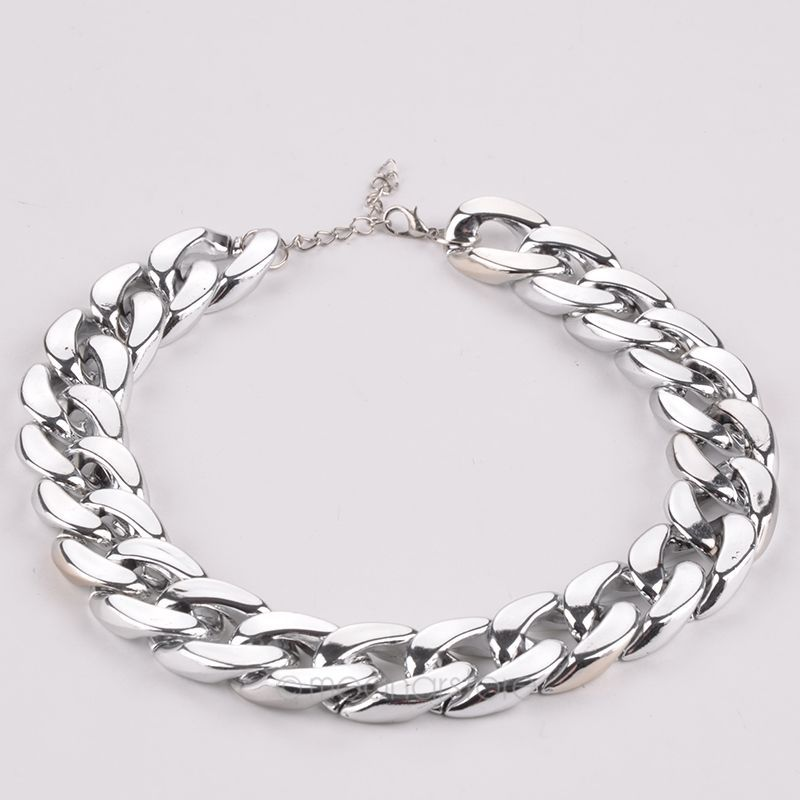 Fashion Wide Chain Necklace Braided Metal Statement Choker Necklaces Women Jewelry Silver - Big Four store