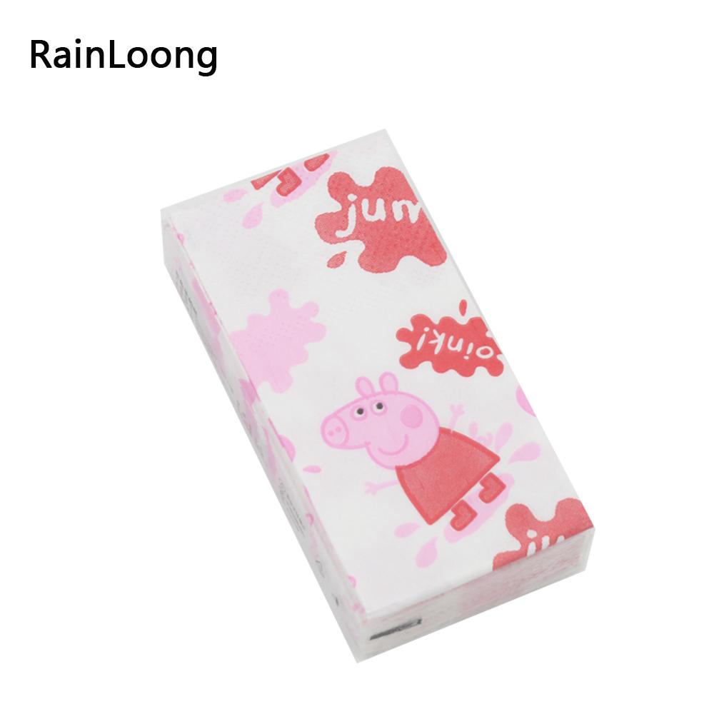 [RainLoong] Cartoon Pig Printed Pocket Paper Napkin Tissue Handkerchiefs For Decoration Personal Care 21*21cm 10pcs/pack/lot(China (Mainland))