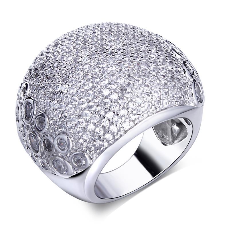 Fashion Secret New Women's CZ Big Wide Dome Rings Platinum Plated Environmental Friendly Material Lead Free Bridal Ring(China (Mainland))