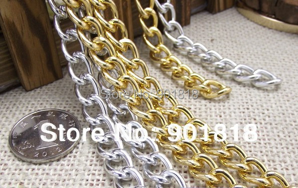 5meters/lot Jewelry Findings gold/silver Aluminum Chain 6*9mm for each ring F807(China (Mainland))