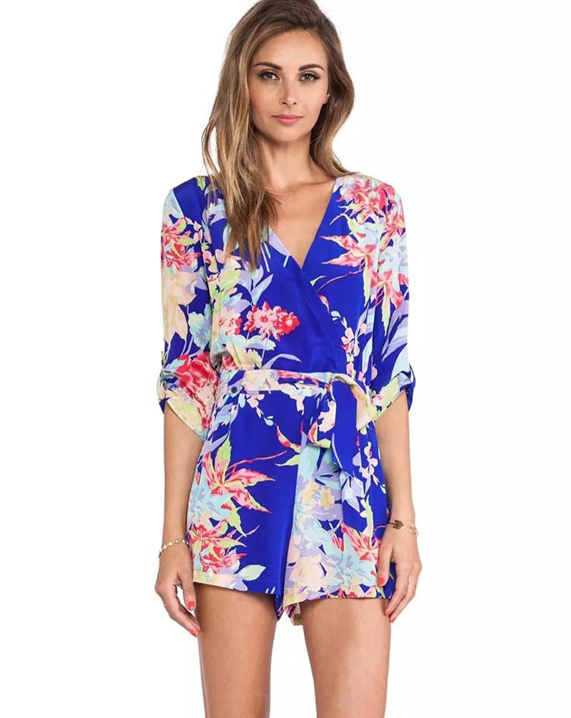 New-SummerFashion-Ladies-elegant-floral-print-short-jumpsuits-pants-plus-size-V-neck-long-sleeve ...