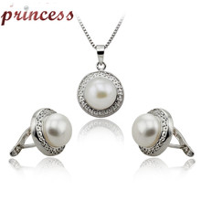 100% real natural freshwater pearl jewelry set 925 sterling silver earring and  pendant cultured genuine pearl set for woman(China (Mainland))