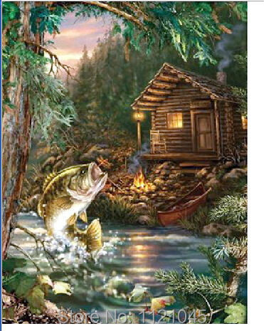 5D Full Square Resin Diamond Painting Embroidery Cross Stitch Sets Needlework DIY Craft Log cabin and fish AS054(China (Mainland))