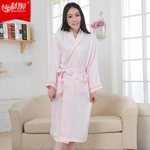 Women bamboo bathrobe sleepwear thin lovers lounge design bamboo fibre bathrobes female(China (Mainland))