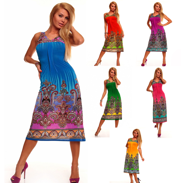 M XXL Plus Size 2014 New Vestidos Women Printed Long Bohemian Beach Dress Maxi Dress Summer Casual Dress 4153 6 Colors