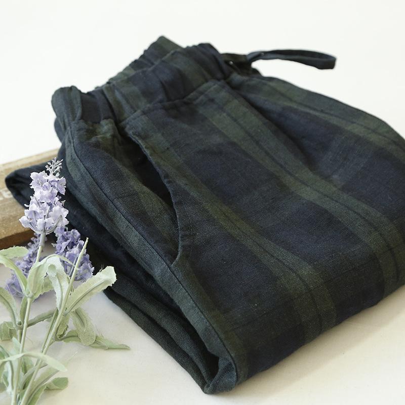 Women original vintage Plaid pants Mori girl cotton Linen trousers casual loose Elastic waist carrot 2016 New Pockets - Werainyee Store store