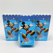 Set 12pcs/lot Mickey Mouse Party Supplies Popcorn Box Gift Box Favor Accessory Birthday Party Supplies Kids Event&Party Supplies(China (Mainland))