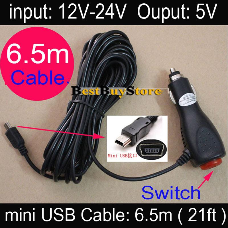 5 Piece Length 6.5m (21ft) mini USB Car Charger for DVR Camera / GPS / Car Radar input DC 12V 24V Ouput 5V 2A with Power Switch<br><br>Aliexpress