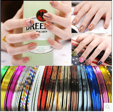 30PCS  Mixed Colorful Beauty Rolls Striping Decals Foil Tips Tape Line DIY Design Nail Art Stickers for nail Tools Decorations