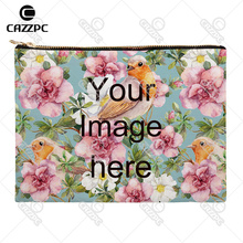 Your image photo Print Custom Canvas High Quality Pattern Print Cosmetic Bag Makeup Pouch Wristlet Hand Bag(China (Mainland))