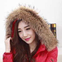 Real Raccoon Fur Scarf Women 100% Natural Raccoon Fur Collar Winter Warm Fur Collar Scarves Design For Lady Long 80cm Width 13cm(China (Mainland))