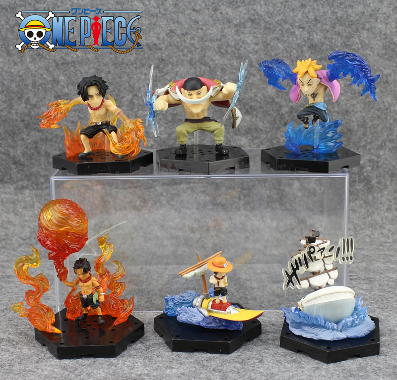 Free Shipping Cute 3 One Piece The Whitebeard Pirates 6pcs Set Edward Marco Ace PVC Action Figure Collection Toy (6pcs per set)<br><br>Aliexpress