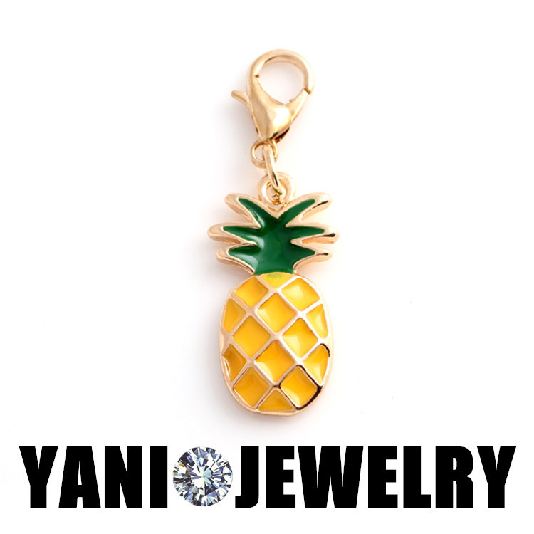 20pcs/lot Free Shipping Alloy Metal Enamel Pineapple Floating Charms For Glass Locket Pineapple Dangle Charms With Lobster Clasp<br><br>Aliexpress
