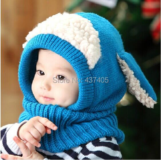 Hot Sale Boy Girl Unisex Kids Autumn Winter Warm Beanie Hat Hooded Scarf Earflap Knit Cap Toddler Cute Gorros 5 Colors Berretti(China (Mainland))
