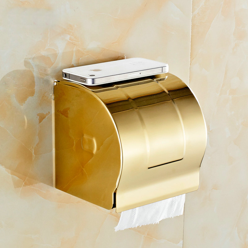 Golden Stainless steel Paper Holder BOX Wall Mounted Bathroom Accessories Sanitary wares 7009G(China (Mainland))