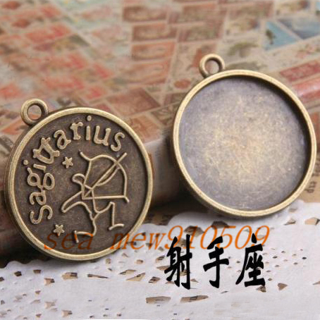 (40 pieces/lot) To fit 25mm round cabochon antique bronze vintage style sagittarius zodiac sign pendant blank settings hd1189(China (Mainland))