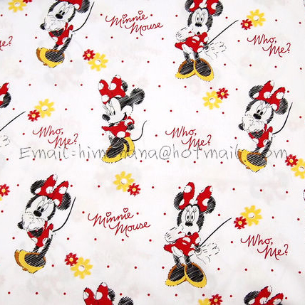 mi918 - 1 Yard SDLP Cotton Polyester Poplin Fabric - Cartoon Characters, Minnie Mouse, Who, Me - White (W140)(China (Mainland))