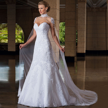 Hot Sale Elegant Wedding Dresses With Long Wedding Dress High Neck Sweetheart Backless White Bridal Gowns For Free Wedding Veil(China (Mainland))