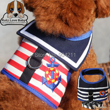 2016 New arrival 100% cotton Embroidery Logo Navy Stripe pet dog leash and collar cat lead leash(China (Mainland))