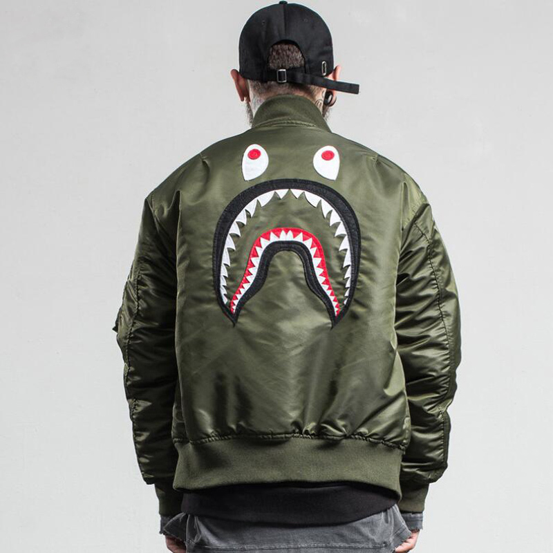 New Bape Fear of God MA1 Bomber Flight Jacket Patch Shark men Hip Hop Streetwear Warm Fashion Men Coats Baseball Jackets(China (Mainland))