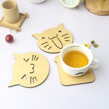 Wooden Carved Coasters Table Pad Cartoon Cat Owl Cup Mug Mat  Coffee Tea Holder Home Decor Tableware(China (Mainland))