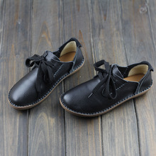 Women Shoes Flat Genuine Leather hand-made Ladies Flat Shoes Black/Brown/Coffee Casual Lace up Flats Woman Moccasins(568-5)(China (Mainland))
