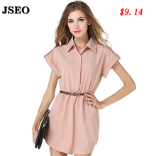 JESO-2016 Lady Summer Plus Size Ladies Chiffon Lapel Collar Dress for Women Shirts Short Sleeve Blouse Female Dresses With Belt(China (Mainland))